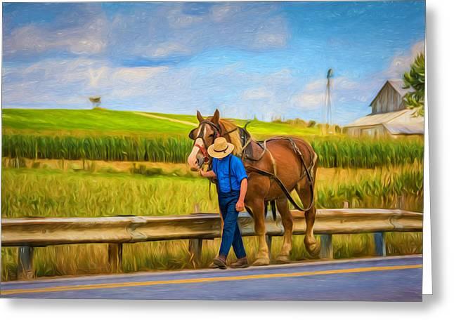 Rural Indiana Digital Art Greeting Cards - A Simple Life - Paint Greeting Card by Steve Harrington