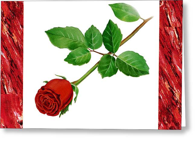 Realistic Watercolor Greeting Cards - A Single Rose Burgundy Red Greeting Card by Irina Sztukowski