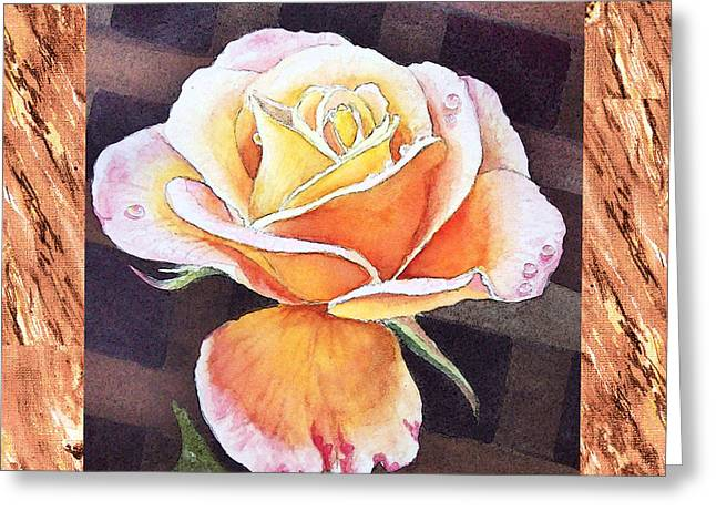 A Single Rose Dew Drops On Ruffles  Greeting Card by Irina Sztukowski