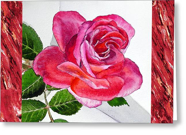 Realistic Watercolor Greeting Cards - A Single Rose Juicy Pink  Greeting Card by Irina Sztukowski