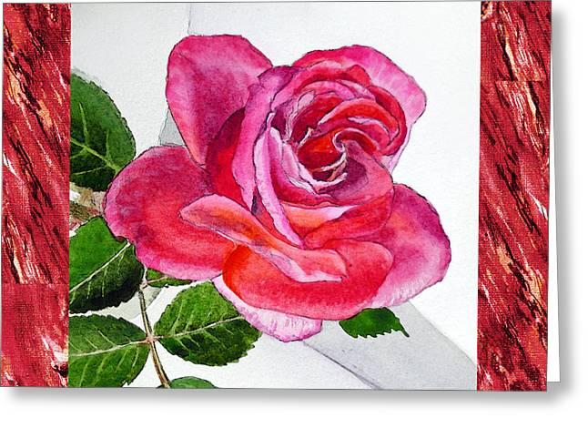 A Single Rose Juicy Pink  Greeting Card by Irina Sztukowski