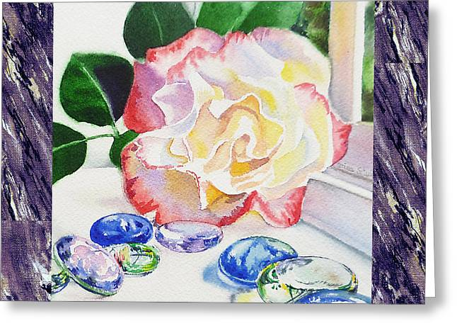 Realistic Watercolor Greeting Cards - A Single Rose Mable Blue Glass Greeting Card by Irina Sztukowski