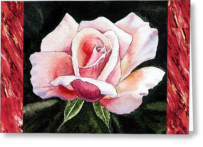 Realistic Watercolor Greeting Cards - A Single Rose Mellow Pink Greeting Card by Irina Sztukowski