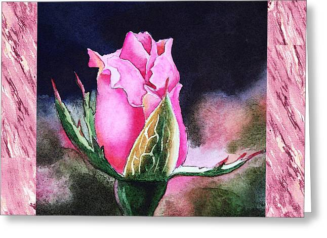 Realistic Watercolor Greeting Cards - A Single Rose Pink Beginning Greeting Card by Irina Sztukowski