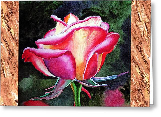 Realistic Watercolor Greeting Cards - A Single Rose The Silky Light Greeting Card by Irina Sztukowski