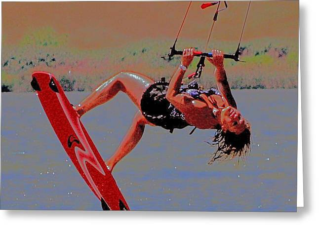 Wind Surfing Art Greeting Cards - A Singluar Moment Greeting Card by Joseph Coulombe