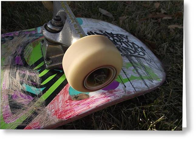 James Rishel Greeting Cards - A Skateboards true colors Greeting Card by James Rishel