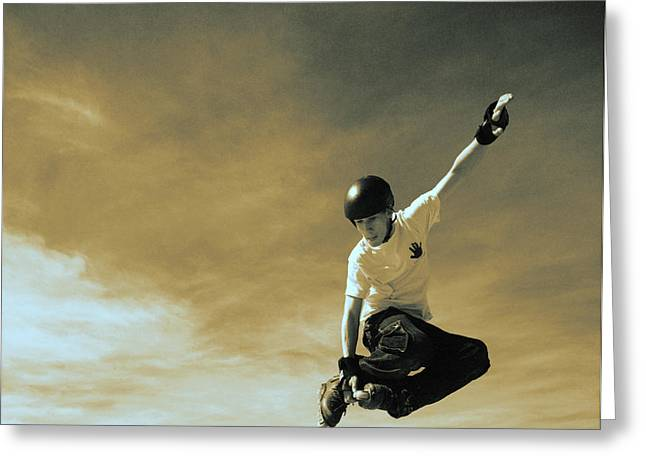 Extreme Lifestyle Greeting Cards - A Skaters Jump Greeting Card by Kelly Redinger