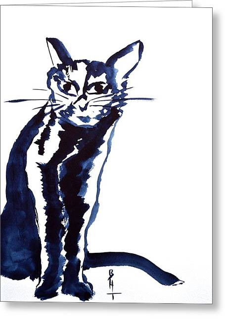 Spirit Cat Essence Greeting Cards - A Sketchy Cat Greeting Card by Beverley Harper Tinsley