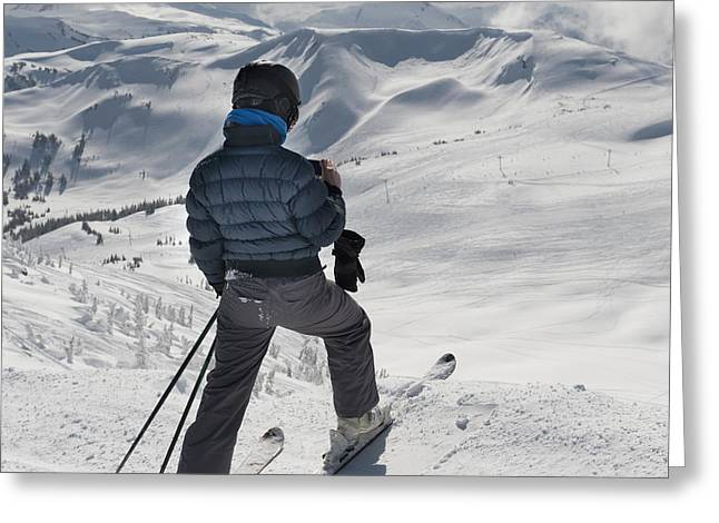 Apparel Greeting Cards - A Skier Pauses On The Trail To Look Out Greeting Card by Keith Levit