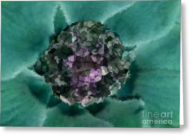A Sky Full of Lighters Teal Purple Greeting Card by Holley Jacobs