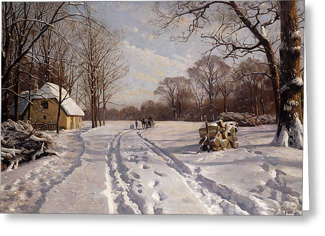 Temperature Greeting Cards - A Sleigh Ride through a Winter Landscape Greeting Card by Peder Monsted