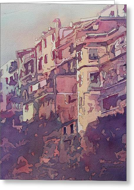 Townhouses Greeting Cards - A Slice of Riomaggiore Greeting Card by Jenny Armitage