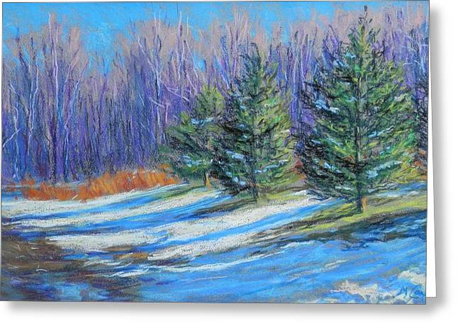 Snowed Trees Pastels Greeting Cards - A Slight Thaw Greeting Card by Michael Camp