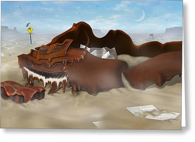 Dali Inspired Greeting Cards - A Slow Death In Piano Valley - Panoramic Greeting Card by Mike McGlothlen