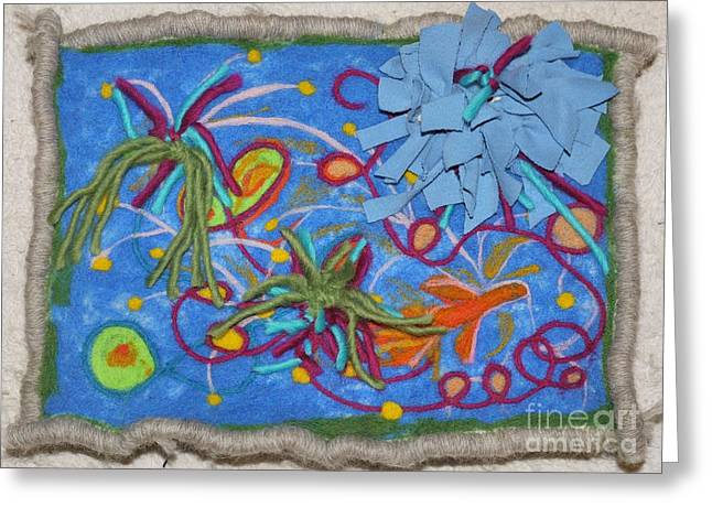 Pond Tapestries - Textiles Greeting Cards - A Small Fish in a Big Pond Greeting Card by Heather Hennick