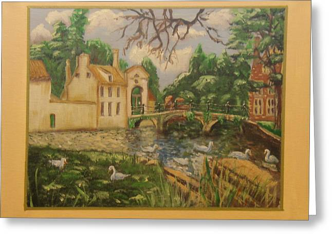 Swans... Greeting Cards - A Small Town in Germany Greeting Card by Bobbie Roberts