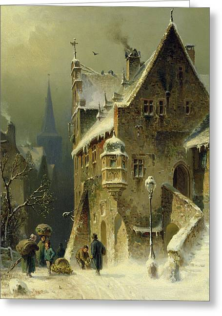 A Small Town In The Rhine Greeting Card by August Schlieker