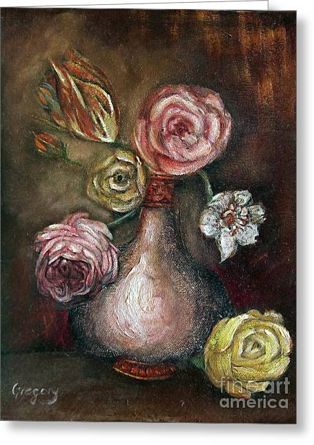 Kinkade Greeting Cards - A Small Vase Greeting Card by Greg  Alexander