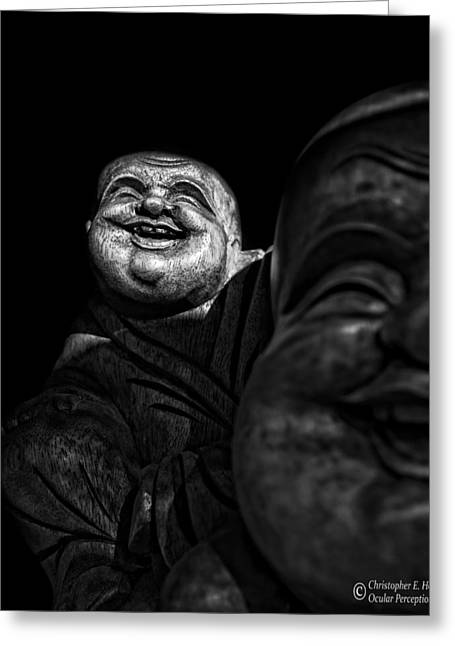 A Smile On The Shoulder - Bw Greeting Card by Christopher Holmes