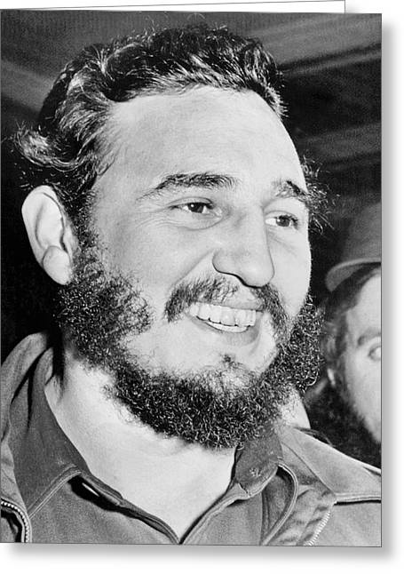 First Black President Greeting Cards - A Smiling Fidel Castro Greeting Card by Underwood Archives