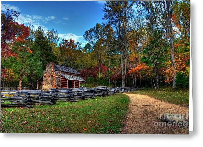 A Smoky Mountain Cabin Greeting Card by Mel Steinhauer