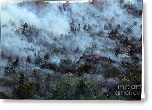 Greeting Card featuring the photograph A Smoky Slope On White Draw Fire by Bill Gabbert