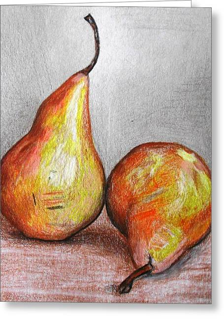 Pear Art Drawings Greeting Cards - A Snack For You And Me Greeting Card by Megan Melonas