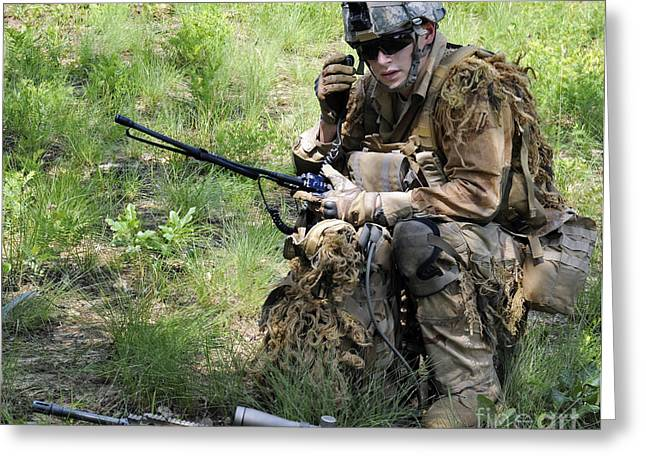 Scrutiny Greeting Cards - A Sniper Conducts A Radio Check Greeting Card by Stocktrek Images