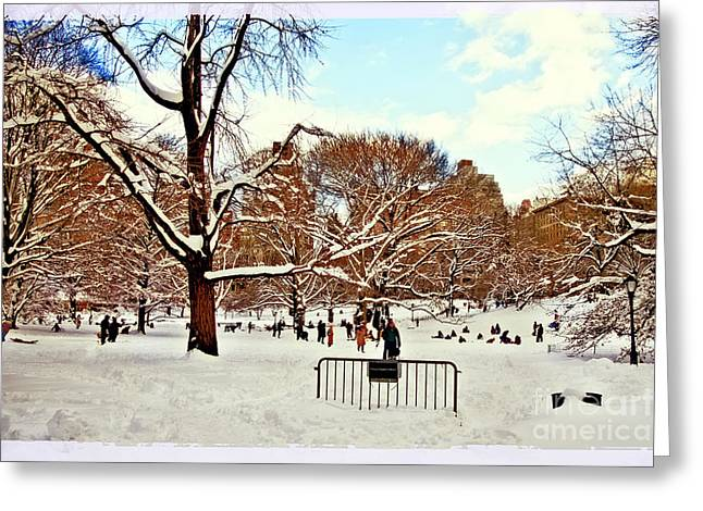 A Snow Day In Central Park Greeting Card by Madeline Ellis