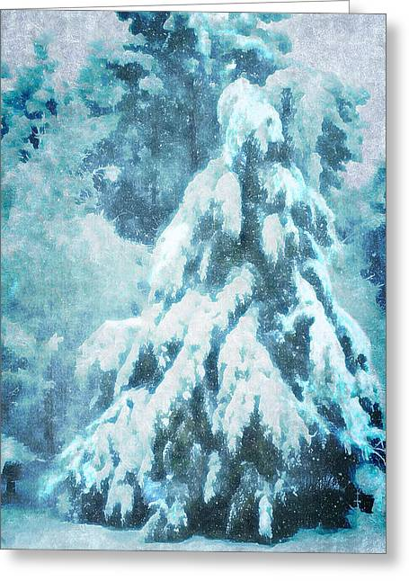 Snowy Night Night Greeting Cards - A Snow Tree Greeting Card by ARTography by Pamela  Smale Williams