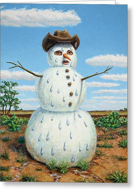 James Paintings Greeting Cards - A Snowman in Texas Greeting Card by James W Johnson