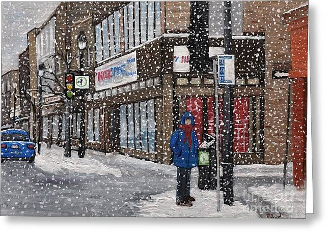 Montreal Winter Scenes Paintings Greeting Cards - A Snowy Day on Wellington Greeting Card by Reb Frost
