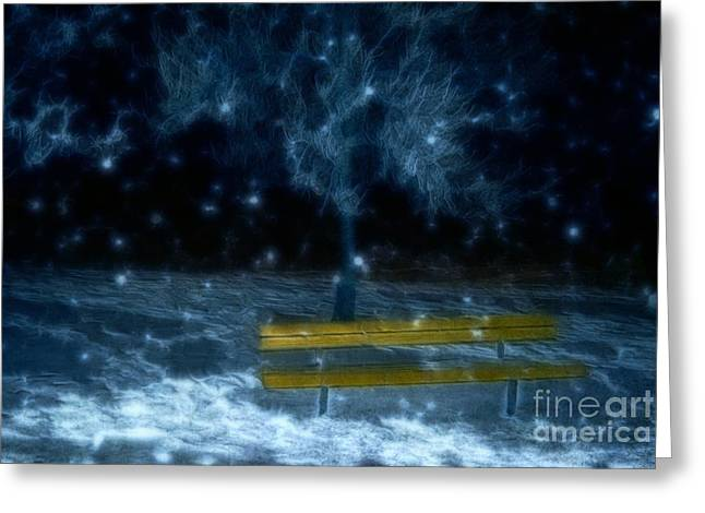 Winter Night Greeting Cards - A Snowy Night Greeting Card by Dorothy Pinder