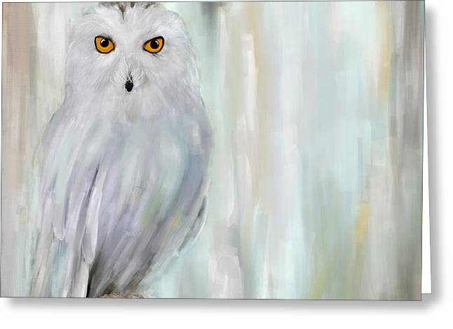 White Birds Greeting Cards - A Snowy Stare Greeting Card by Lourry Legarde
