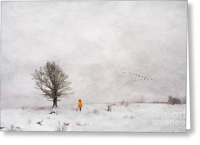 Snowy Day Greeting Cards - A Snowy Stroll Greeting Card by Darren Fisher