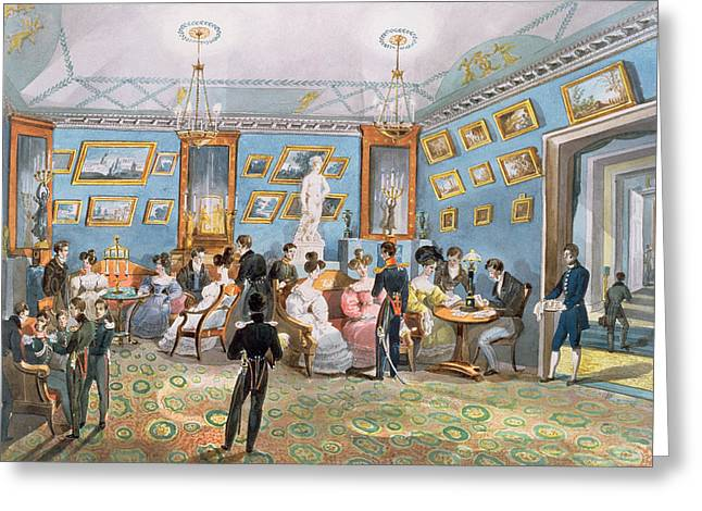 Occasion Greeting Cards - A Society Drawing Room, C.1830 Wc On Paper Greeting Card by Karl Ivanovich Kolmann