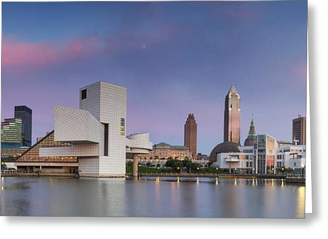 Fame Greeting Cards - A Soft Cleveland Sunset Greeting Card by Jennifer Grover