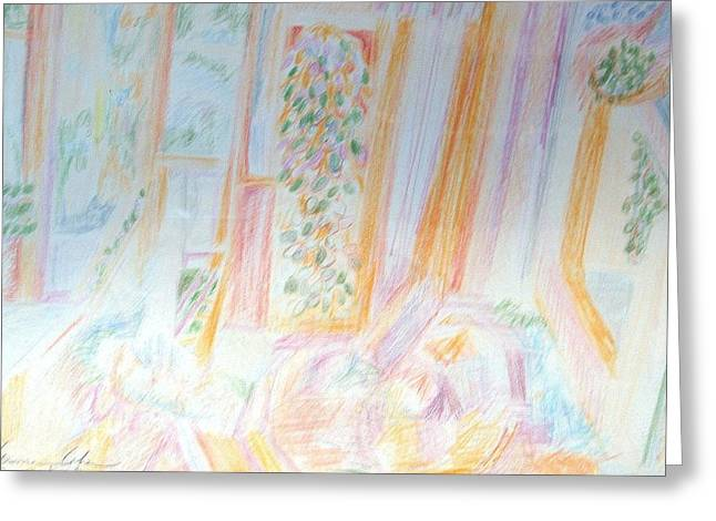 Colored Pencil On Canvas Greeting Cards - A Soft Interior Greeting Card by Esther Newman-Cohen