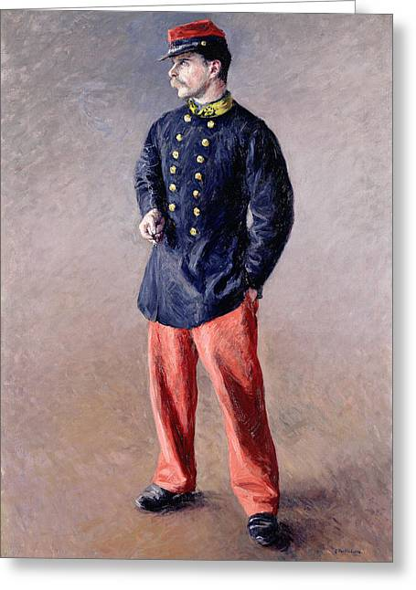 Third Army Greeting Cards - A Soldier Greeting Card by Gustave Caillebotte