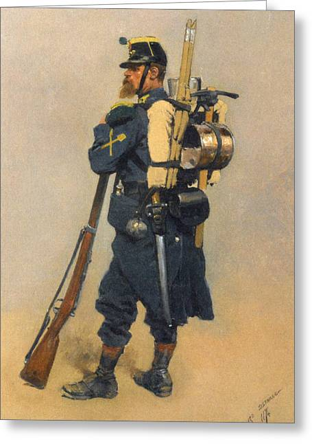 Old Masters Greeting Cards - A Soldier Iinfanterie Greeting Card by Jean Baptiste Detaille