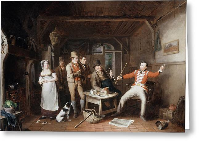 Public House Greeting Cards - A Soldier Relating His Exploits Greeting Card by John Cawse