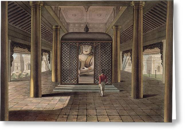 Uniformed Greeting Cards - A Soldier Standing In A Rangoon Temple Greeting Card by Joseph Moore