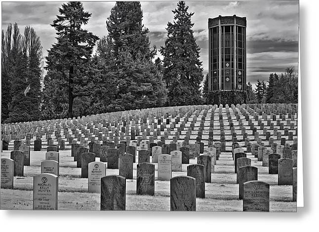 Headstones Greeting Cards - A Soldiers Final Duty Greeting Card by Mountain Dreams