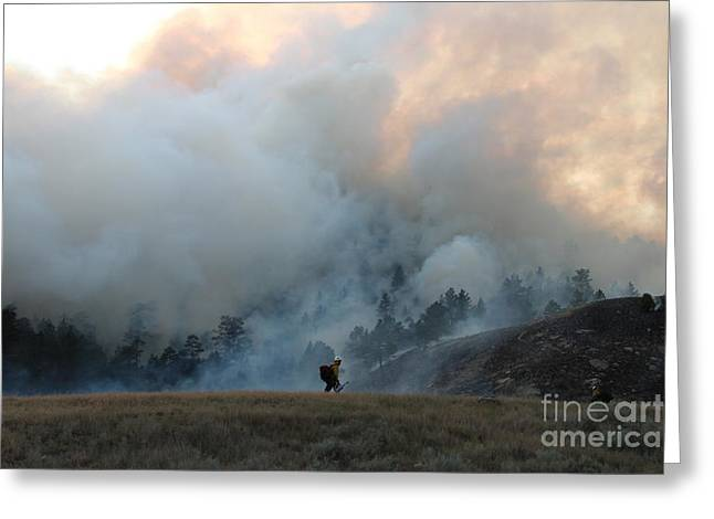 Greeting Card featuring the photograph A Solitary Firefighter On The White Draw Fire by Bill Gabbert
