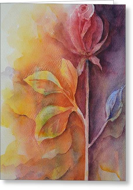 Petals Ceramics Greeting Cards - A Solitary Rose Greeting Card by Kathleen Pio