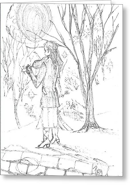 Robert Meszaros Drawings Greeting Cards - A Song For The Night - Sketch Greeting Card by Robert Meszaros