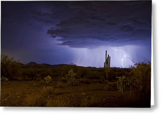 Arizona Lightning Greeting Cards - A Sonoran Desert Storm  Greeting Card by Saija  Lehtonen