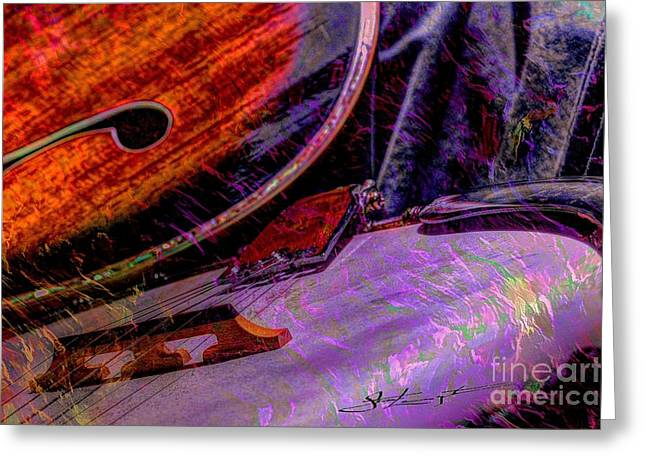 Acoustical Digital Art Greeting Cards - A Southern Combination Digital Banjo and Guitar Art by Steven Langston Greeting Card by Steven Lebron Langston
