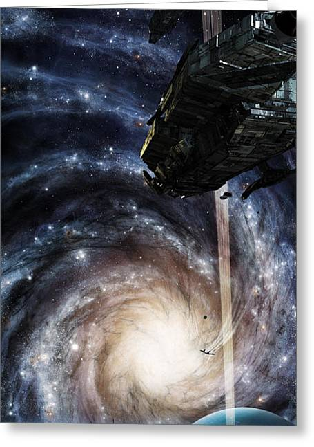 Interstellar Travel Greeting Cards - A Spacecraft Arrives At The Docking Greeting Card by Brian Christensen